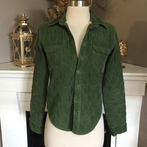 Anthro Odille Green Quilted Corduroy Shirt Jacket